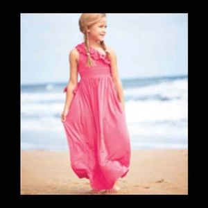 Other - Pink Ruffle Shoulder Maxi Dress